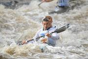 8 October 2011; Peter Egan and Neil Flenming, Salmon Leap Canoe Club, Co. Dublin, in action on the Straffan weir, in their Senior Racing Kayak Doubles K2, during the 2011 Liffey Descent, Kildare - Dublin. Picture credit: Barry Cregg / SPORTSFILE