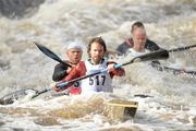 8 October 2011; David Pringle and Aisa Cooper, Salmon Leap Canoe Club, Co. Dublin, in action on the Straffan weir, in their Senior Racing Kayak Doubles K2, during the 2011 Liffey Descent, Kildare - Dublin. Picture credit: Barry Cregg / SPORTSFILE