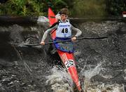 8 October 2011; Iomhar MacGiiolla Phadraig, Salmon Leap Canoe Club, Co. Dublin, in action on the Straffan weir, in the Junior Racing Kayak Singles K1, during the 2011 Liffey Descent, Kildare - Dublin. Picture credit: Barry Cregg / SPORTSFILE