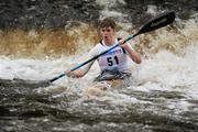 8 October 2011; Matthew Burke, Salmon Leap Canoe Club, Co. Dublin, in action on the Straffan weir, in the Junior Racing Kayak Singles K1, during the 2011 Liffey Descent, Kildare - Dublin. Picture credit: Barry Cregg / SPORTSFILE