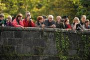 8 October 2011; A general view of the crowd looking on at competitors in action on the Straffan weir, Co. Kildare, during the 2011 Liffey Descent, Kildare - Dublin. Picture credit: Barry Cregg / SPORTSFILE