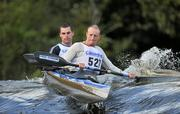 8 October 2011; Martin Burke and John Boyton, Salmon Leap Canoe Club, Co.Dublin, in action in the Senior Racing Kayak Doubles K2 on Lucan weir, Co.Dublin, during the 2011 Liffey Descent, Kildare - Dublin. Picture credit: Barry Cregg / SPORTSFILE