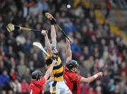 9 October 2011; Jack Guiney, Rathnure, in action against Barry Kehoe and Darren Stamp, Oulart-the Ballagh. Pettitts Wexford Senior Hurling Championship Final 2011, Oulart-the Ballagh v Rathnure, Wexford Park, Wexford. Picture credit: Matt Browne / SPORTSFILE