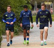 17 April 2017; Leinster players, from left, Luke McGrath, Joey Carbery and Josh van der Flier during squad training at UCD, Dublin. Photo by Stephen McCarthy/Sportsfile