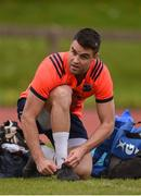 17 April 2017; Conor Murray of Munster ties his boot laces before squad training at the University of Limerick in Limerick. Photo by Diarmuid Greene/Sportsfile