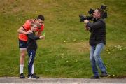 17 April 2017; Munster supporter Callum Hughes, aged 10, takes a selfie with Conor Murray of Munster before squad training at the University of Limerick in Limerick. Photo by Diarmuid Greene/Sportsfile