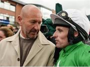 17 April 2017; Owner Philip Reynolds and jockey Sean Flanagan after winning the Fairyhouse Steel Handicap Hurdle with Showem Silver during the Fairyhouse Easter Festival at Fairyhouse Racecourse in Ratoath, Co Meath. Photo by Seb Daly/Sportsfile