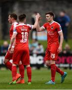 17 April 2017; Garry Buckley of Cork City, right, celebrates with team-mate Steven Beattie after scoring his side's first goal during the EA Sports Cup second round match between Limerick FC and Cork City at The Markets Field in Limerick. Photo by Diarmuid Greene/Sportsfile