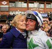 17 April 2017; Trainer Jessica Harrington kisses jockey Robbie Power after winning the Boylesports Irish Grand National Steeplechase with Our Duke during the Fairyhouse Easter Festival at Fairyhouse Racecourse in Ratoath, Co Meath. Photo by Cody Glenn/Sportsfile