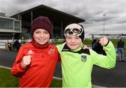17 April 2017; Limerick FC supporters, and brothers, Beau Greene, aged 9, left, and Eli Greene, aged 7, from Pallasgreen, Co. Limerick ahead of the EA Sports Cup second round match between Limerick FC and Cork City at The Markets Field in Limerick. Photo by Diarmuid Greene/Sportsfile