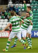 17 April 2017; Darren Meenan, centre, of Shamrock Rovers celebrates after scoring his side's first goal with teammates Sean Boyd and Simon Madden during the EA Sports Cup second round game between Shamrock Rovers and Bohemians at Tallaght Stadium in Tallaght, Dublin. Photo by David Maher/Sportsfile