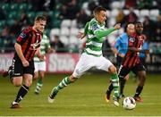 17 April 2017; Graham Burke of Shamrock Rovers in action against George Poynton of Bohemians during the EA Sports Cup second round game between Shamrock Rovers and Bohemians at Tallaght Stadium in Tallaght, Dublin. Photo by David Maher/Sportsfile