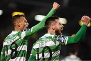 17 April 2017; Brandon Miele, right, of Shamrock Rovers celebrates after scoring his side's second goal with teammate Graham Burke during the EA Sports Cup second round game between Shamrock Rovers and Bohemians at Tallaght Stadium in Tallaght, Dublin. Photo by David Maher/Sportsfile