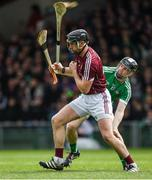16 April 2017; Aidan Harte of Galway prepares to clear under pressure from Graeme Mucahy of Limerick during the Allianz Hurling League Division 1 Semi-Final match between Limerick and Galway at the Gaelic Grounds in Limerick. Photo by Ray McManus/Sportsfile