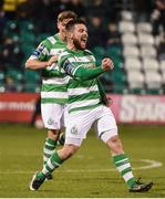 17 April 2017; Brandon Miele of Shamrock Rovers celebrates after scoring his side's third goal during the EA Sports Cup second round game between Shamrock Rovers and Bohemians at Tallaght Stadium in Tallaght, Dublin. Photo by David Maher/Sportsfile