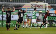 17 April 2017; Ian Morris, right, of Bohemians celebrates after scoring his side's first goal during the EA Sports Cup second round game between Shamrock Rovers and Bohemians at Tallaght Stadium in Tallaght, Dublin. Photo by David Maher/Sportsfile