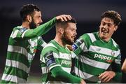 17 April 2017; Brandon Miele, centre, of Shamrock Rovers celebrates after scoring his side's second goal with teammates David Webster and Sam Bone during the EA Sports Cup second round game between Shamrock Rovers and Bohemians at Tallaght Stadium in Tallaght, Dublin. Photo by David Maher/Sportsfile
