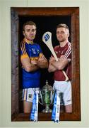 18 April 2017; In attendance at the Allianz Hurling League Division 1 Final Preview in Croke Park are Tipperary's Noel McGrath, left, and Galway's Aidan Harte. This year, Allianz celebrates 25 years of sponsoring the Allianz Leagues. Visit www.allianz.ie for more information. Photo by Ramsey Cardy/Sportsfile