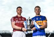 18 April 2017; In attendance at the Allianz Hurling League Division 1 Final Preview in Croke Park are Galway's Aidan Harte, left, and Tipperary's Noel McGrath. This year, Allianz celebrates 25 years of sponsoring the Allianz Leagues. Visit www.allianz.ie for more information. Photo by Ramsey Cardy/Sportsfile