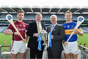 18 April 2017; In attendance at the Allianz Hurling League Division 1 Final Preview in Croke Park are, from left, Galway's Aidan Harte, Damien O'Neill, Head of Marketing, Allianz Ireland, Uachtarán Chumann Lúthchleas Gael Aogán Ó Fearghail and Tipperary's Noel McGrath. This year, Allianz celebrates 25 years of sponsoring the Allianz Leagues. Visit www.allianz.ie for more information. Photo by Ramsey Cardy/Sportsfile