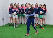 18 April 2017; Cora Staunton of Mayo gives a skills workshop during the Gaelic4Teens Activity Day at Croke Park in Dublin. Photo by Sam Barnes/Sportsfile