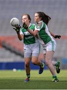 18 April 2017; Lauren O'Connor of Clonguish GAA, Co Longford, in action against Sadhbha Boyle of Naomh Muire Íochtar na Rosann GAA, Co Donegal, during the Gaelic4Teens Activity Day at Croke Park in Dublin. Photo by Sam Barnes/Sportsfile