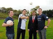 12 October 2011; Pictured at St Josephs GAA Club Ederney, in Fermanagh, were Sean Donnelly, Club Sectretary, St Josephs GAA Club Ederney, Sean Og O hAilpin, Ulster Bank GAA Force Ambassador Nigel Walsh, Regional Director, Ulster Bank, and Martin McGrath, St Josephs GAA Club Ederney and Fermanagh player. St Josephs GAA Club Ederney, in Fermanagh, received a major boost as Ulster Bank announced them as winners of 'Ulster Bank GAA Force' – a major club focused initiative supporting local GAA clubs by giving them the opportunity to refurbish and upgrade their facilities. Ulster Bank GAA Force was introduced this summer to coincide with Ulster Bank's sponsorship of the GAA Football All-Ireland Championships. St Josephs GAA Club was awarded a support package worth €22,000. Four runners up were also awarded support packages worth €5,000. St. Joseph's GAA Club, Drumkeen, Ederney, Co. Fermanagh. Picture credit: Oliver McVeigh / SPORTSFILE