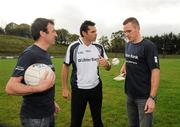 12 October 2011; Pictured at St Josephs GAA Club Ederney, in Fermanagh, were Sean Donnelly, Club Sectretary, St Josephs GAA Club Ederney, Sean Og O hAilpin, Ulster Bank GAA Force Ambassador, and Martin McGrath, St Josephs GAA Club Ederney and Fermanagh player. St Josephs GAA Club Ederney, in Fermanagh, received a major boost as Ulster Bank announced them as winners of 'Ulster Bank GAA Force' – a major club focused initiative supporting local GAA clubs by giving them the opportunity to refurbish and upgrade their facilities. Ulster Bank GAA Force was introduced this summer to coincide with Ulster Bank's sponsorship of the GAA Football All-Ireland Championships. St Josephs GAA Club was awarded a support package worth €22,000. Four runners up were also awarded support packages worth €5,000. St. Joseph's GAA Club, Drumkeen, Ederney, Co. Fermanagh. Picture credit: Oliver McVeigh / SPORTSFILE