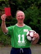 9 May 2002; Former Republic of Ireland manager Jack Charlton OBE, showed the cholesterol the red card as he launched a cholesterol awareness campaign with Flora pro.activ! Jack successfully reduced his cholesterol by 11% on a three week trial using Flora pro.activ as part of healthy diet - proving that he never takes his eye off the ball where his health is concerned. Soccer. Picture credit; Brendan Moran / SPORTSFILE