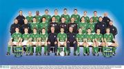 12 February 2002; The Republic of Ireland squad. Back Row from l to r; Lee Carsley, Clinton Morrison, Richard Dunne, Andy O'Brien, Niall Quinn, Gary Breen, Mark Kennedy, Steve Finnan, Mick Byrne, Physio. Middle Row from l to r; Joe Walsh, Equipment Officer, John Fallon, Umbro, Colin Healy, Kenny Cunningham, Alan Kelly, Shay Given, Dean Kiely, Richard Sadlier, Stephen Reid, Packie Bonner, Goalkeeping Coach, Tony Hickey, Head of Security. front Row from l to r; Matt Holland, Damien Duff, Jason McAteer, Kevin Kilbane, Mick McCarthy, Manager, Roy Keane, Ian Evans, Assistant Manager, Gary Kelly, Robbie Keane, Ian Harte, Steve Staunton. Soccer. Picture credit; Ray McManus / SPORTSFILE