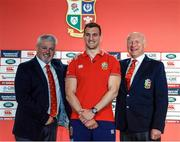 19 April 2017; British & Irish Lions head coach Warren Gatland, left, captain Sam Warburton, centre, and tour manager John Spencer in attendance at the announcement of the British & Irish Lions Squad for the 2017 Tour to New Zealand at the Hilton London Syon Park in Middlesex, London.