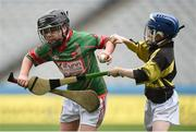 19 April 2017; Bryan Quilter representing Crotta O'Neills, Co. Kerry, in action against Sean Stapleton and Oisin O'Dwyer representing Clonakenny, Co. Tipperary, during the Go Games Provincial Days in partnership with Littlewoods Ireland Day 5 at Croke Park in Dublin. Photo by Matt Browne/Sportsfile
