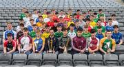 19 April 2017; Players with ambassadors, from left, Neil McManus of Antrim, Paul Divily of Kildare and Conor Cooney of Galway, in attendance at the Bank of Ireland Celtic Challenge Launch 2017 at Croke Park in Dublin. Photo by Sam Barnes/Sportsfile