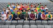 19 April 2017; Players with sponsors and ambassadors, from left, Liam Sheedy, Bank of Ireland, Neil McManus of Antrim, Paul Divily of Kildare, Conor Cooney of Galway and Paudie O'Neill, Chairperson HDC, in attendance at the Bank of Ireland Celtic Challenge Launch 2017 at Croke Park in Dublin. Photo by Sam Barnes/Sportsfile