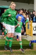 9 April 2017; Saoirse Noonan of Republic of Ireland makes her way out to the pitch ahead of the UEFA Women's Under 19 European Championship Elite Round match between Republic of Ireland and Finland at Markets Field, in Limerick. Photo by Eóin Noonan/Sportsfile