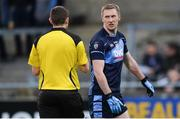 20 April 2017; Billy Sheehan of St Jude's remonstrates with referee Barry Tiernan during the Dublin County Senior Club Football Championship Round 1 match between St Jude's and Naomh Mearnóg at Parnell Park in Dublin. Photo by Piaras Ó Mídheach/Sportsfile