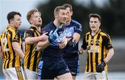 20 April 2017; Billy Sheehan of St Jude's is held back by Jordan Briggs of Naomh Mearnóg as he remonstrates with referee Barry Tiernan during the Dublin County Senior Club Football Championship Round 1 match between St Jude's and Naomh Mearnóg at Parnell Park in Dublin. Photo by Piaras Ó Mídheach/Sportsfile