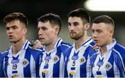 20 April 2017; Ballyboden St Endas players, from left, Daniel Grimes, Donagh McCabe, Shane Clayton and Cathal Flaherty stand for a team picture before the Dublin County Senior Club Football Championship Round 1 match between Ballyboden St Endas and St Oliver Plunketts Eoghan Ruadh at Parnell Park in Dublin. Photo by Piaras Ó Mídheach/Sportsfile