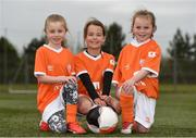 21 April 2017; Young players from left Katie O'Neill, age 7, from Portmarnock, Liadh Tobin, age 8, from Malahide and Ava Whelehan, age 5, from Donaghmede during the Aviva Soccer Sisters at Gannon Park in Malahide, Dublin. Photo by Eóin Noonan/Sportsfile