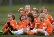 21 April 2017; Young players including Katie O'Neill, from Portmarnock, with her thumbs up, relax during the Aviva Soccer Sisters at Gannon Park in Malahide, Dublin. Photo by Eóin Noonan/Sportsfile