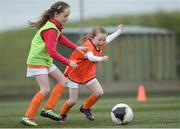 21 April 2017; Carrie Nugent, from Malahide, Dublin, in action against Ally Hatch, also from Malahide, during the Aviva Soccer Sisters at Gannon Park in Malahide, Dublin. Photo by Eóin Noonan/Sportsfile