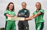 21 April 2017; Irish International Women's Cricket players, from left, Lara Maritz, Robyn Lewis, and Gaby Lewis at the announcement of Hanley Energy as the official sponsors of the Irish International Women's Cricket Team at Hanley Head Office, City North Business Park in Stamullin, Meath. Photo by Cody Glenn/Sportsfile
