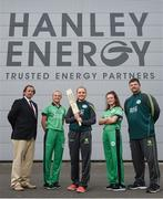 21 April 2017; Irish International Women's Cricket players, from second left, Gaby Lewis, Robyn Lewis, and Lara Martiz, with head coach Aaron Hamilton and joined by Clive Gilmore, left, CEO of Hanley Energy, at the announcement of Hanley Energy as the official sponsors of the Irish International Women's Cricket Team at Hanley Head Office, City North Business Park in Stamullin, Meath. Photo by Cody Glenn/Sportsfile