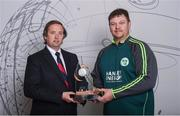 21 April 2017; Clive Gilmore, CEO of Hanley Energy, with head coach of the Irish International Women's Cricket Team Aaron Hamilton at the announcement of Hanley Energy as the official sponsors of the Irish International Women's Cricket Team at Hanley Head Office, City North Business Park in Stamullin, Meath. Photo by Cody Glenn/Sportsfile