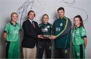 21 April 2017; Irish International Women's Cricket players, from left, Gaby Lewis, Robyn Lewis, and Lara Maritz, with head coach Aaron Hamilton, and Clive Gilmore, CEO of Hanley Energy, at the announcement of Hanley Energy as the official sponsors of the Irish International Women's Cricket Team at Hanley Head Office, City North Business Park in Stamullin, Meath. Photo by Cody Glenn/Sportsfile