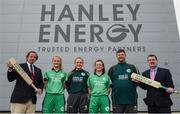 21 April 2017; Clive Gilmore, CEO of Hanley Energy, with, from left, Irish International Women's Cricket players Gaby Lewis, Robyn Lewis, Lara Maritz, head coach Aaron Hamilton, and Dennis Cousins, Commercial Director of Cricket Ireland, at the announcement of Hanley Energy as the official sponsors of the Irish International Women's Cricket Team at Hanley Head Office, City North Business Park in Stamullin, Meath. Photo by Cody Glenn/Sportsfile