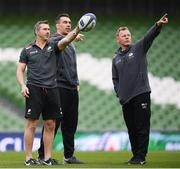 21 April 2017; Saracens director of rugby Mark McCall, right, with forwards coach Alex Sanderson and backs coach Kevin Sorrell, left, during their captain's run at the Aviva Stadium in Dublin. Photo by Stephen McCarthy/Sportsfile