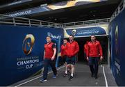 21 April 2017; Munster players, from left, James Cronin, Niall Scannell, Peter O'Mahony and Tommy O'Donnell during their captain's run at the Aviva Stadium in Dublin. Photo by Stephen McCarthy/Sportsfile