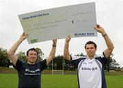 12 October 2011; Pictured at St Josephs GAA Club Ederney, in Fermanagh, were Sean Og O hAilpin, right, Ulster Bank GAA Force Ambassador, and Sean Donnelly, Club Sectretary St Josephs GAA Club Ederney. St Josephs GAA Club Ederney, in Fermanagh, received a major boost as Ulster Bank announced them as winners of 'Ulster Bank GAA Force' – a major club focused initiative supporting local GAA clubs by giving them the opportunity to refurbish and upgrade their facilities. Ulster Bank GAA Force was introduced this summer to coincide with Ulster Bank's sponsorship of the GAA Football All-Ireland Championships. St Josephs GAA Club was awarded a support package worth €22,000. Four runners up were also awarded support packages worth €5,000. St. Joseph's GAA Club, Drumkeen, Ederney, Co. Fermanagh. Picture credit: Oliver McVeigh / SPORTSFILE