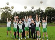 12 October 2011; Pictured at St Josephs GAA Club Ederney, in Fermanagh, were children, from St Josephs PS Ederney, with Nigel Walsh, Regional  Director, Ulster Bank, Dearbhaile  McHugh, Club Treasurer St Josephs GAA Club Ederney, Sean Og O hAilpin, Ulster Bank GAA Force Ambassador, and Sean Donnelly, Club Sectretary St Josephs GAA Club Ederney. St Josephs GAA Club Ederney, in Fermanagh received a major boost as Ulster Bank announced them as winners of 'Ulster Bank GAA Force' – a major club focused initiative supporting local GAA clubs by giving them the opportunity to refurbish and upgrade their facilities. Ulster Bank GAA Force was introduced this summer to coincide with Ulster Bank's sponsorship of the GAA Football All-Ireland Championships. St Josephs GAA Club was awarded a support package worth €22,000. Four runners up were also awarded support packages worth €5,000. St. Joseph's GAA Club, Drumkeen, Ederney, Co. Fermanagh. Picture credit: Oliver McVeigh / SPORTSFILE